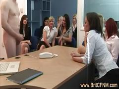 Laughing office girls watch and suck cfnm guy