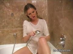 Lenka takes a shower - solo masturbation -