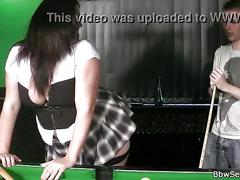 Cheating bbw in fishnets on the pool table