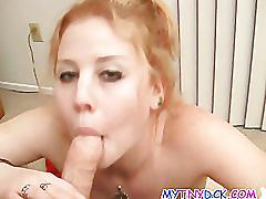 Cute blonde takes it it between her tits