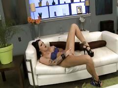Busty brunette goes solo and rubs pussy hard