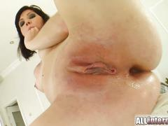 Milka gets their milky load right inside her anus