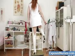 Redhead nurse samantha pussy gaping on gynochair