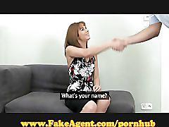 Fakeagent stylish amateur sucks cock!
