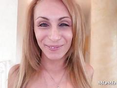 Petite sexy blonde serving a fat black dick
