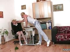 Alluring blonde gets fucked at her birthday