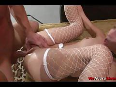 Bondage slut getting fucked and tit milked