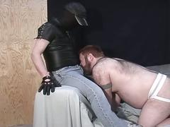 Big fat hairy bear daddy sucks the big thick cock of a stud in a mask
