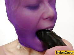Blond slut sweet cat rides big dildo in her nylon.
