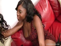 Busty ebony lesbos get their freak on