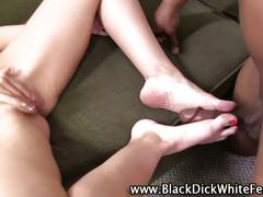 Brooklyn chase gives a nice footjob