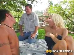 Two big cocks for hot blonde milf