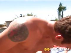 Slutty jessica jammer gets dped by the poolside