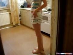 Teen couple kitchen sex