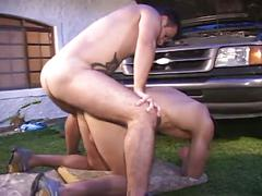 Sexy mechanics blowjob, rimming, and ass fucking outside