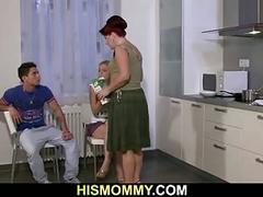 Older mom eats her son's girlfriend cunt