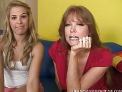 Kimberly and her mom fuck a massive fat cock