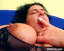 Long haired chubby slut fucks some guy