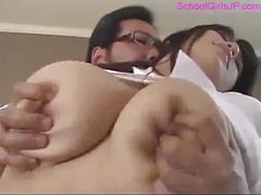 Fat schoolgirl with huge tits getting her nipples...
