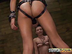 strapon, babe, mistress, rimjob, slave, gagging, brunette, rope bondage, strapon squad, fetish network, isa mendez, nikki bell