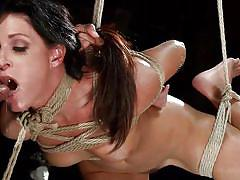 milf, bdsm, interracial, blowjob, tied up, from behind, rope bondage, dungeon sex, kink, mickey mod, india summer