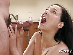 Brunette slut drinks urine