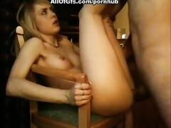 Blonde gf getting sperm all over face