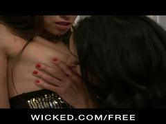 Horny party girls suck and fuck each other