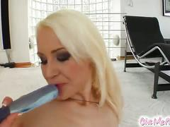 Hot blonde vigorous masturbation