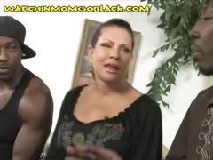 Brunette mom makes an interracial deal