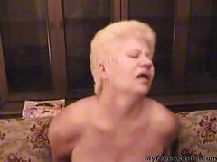 Old blonde mature in pantyhose sucks and fucks the...