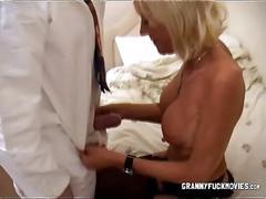 blonde, blowjob, granny, mature, milf, sucking, lingerie, stockings