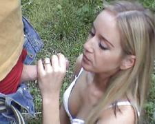 Cute blonde gets fucked outdoor
