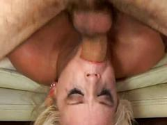 Filthy blonde throat bang