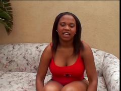 Ebony teen in red sucks dick and gets cumshot