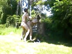Pregnant fuck in the garden