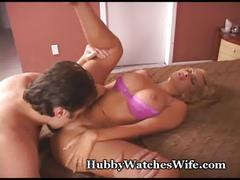 Obedient hubby sees wife banged