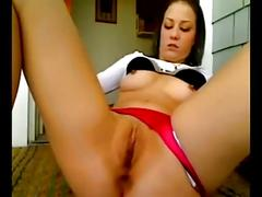 Young woman films self masturbating on front porch