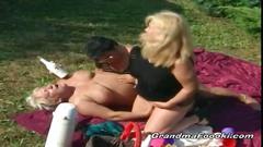 Nast grannies in hot outdoor threesome