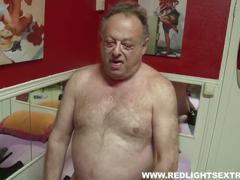 Dirty old pervert gets young hot prostitute on cam