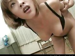 Hairy asian amateur fucked in the office