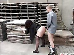 Chubby gal fucked at a pallet company