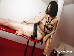 Encasement handjob and facesitting