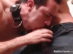 Nasty stud slave sucking horny master