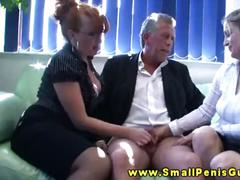 Hottest cfnm femdoms giving hot handjob