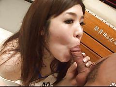 Chubby japanese milf sucks three cocks