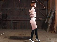 milf, whip, bdsm, redhead, tied up, caned, barn, ropes, bondage cage, nipple clamps, real time bondage, hazel hypnotic