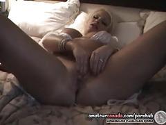 Canadian milf in white lingerie masturbates plump pussy