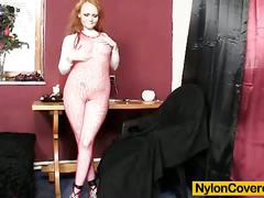 Redhead samantha wears body fishnets and nylon on head