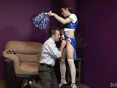tattoo, big tits, blowjob, cheerleader, brunette tranny, on knees, devils film, fame digital, la cherry spice